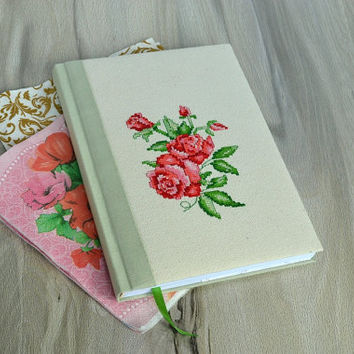 Embroidery notebook Cross stich notebook Fabric cover Notebook with roses Fabric journal Handmade journal Embroidered rose Textile notebook