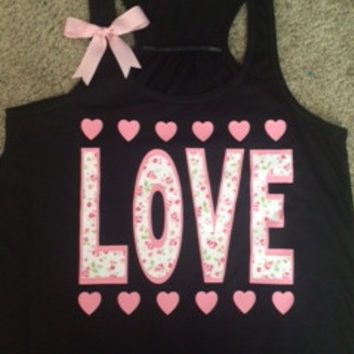 Love - Floral Tank - Racerback Tank - Black Tank - Fitness Tank - Gym Tank - Workout Tank - Workout Clothes