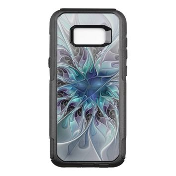Flourish Abstract Modern Fractal Flower With Blue OtterBox Commuter Samsung Galaxy S8+ Case
