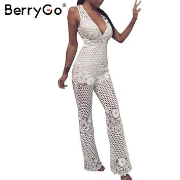BerryGo White lace hollow out elegant jumpsuit romper Women sleeveless sexy v neck party long playsuit Female loose club overall
