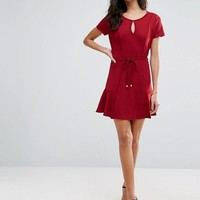 Pussycat London Drop Hem Dress With Tie Waist at asos.com