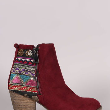 Suede Embroidered Sequin Chunky Heeled Western Booties