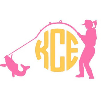 Custom Fisherwoman Monogram Car Decal, Country Girl Decal, Fishing Vinyl Decal