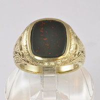 Antique 10KT Gold Men's Signet Ring With Bloodstone - Size 10