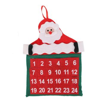 Velvet Christmas Advent Calendar Counting Wall Hanging Kit Holiday Decor