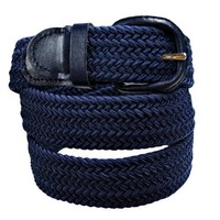 Luxury Divas Navy Blue Braided Elastic Stretch Belt