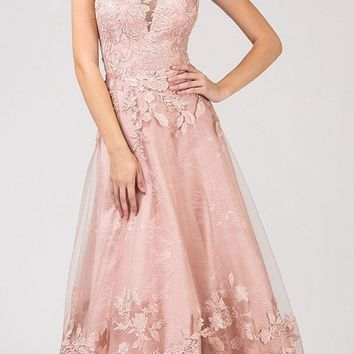 Dusty Rose Applique-Decorated Long Prom Dress