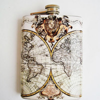 Stainless Steel 8 oz  + Funnel, Hip Flask Geographical map flask, Earth globe, Ancient map of the world, Old card Hip flask, Pocket flasks