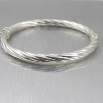 Vintage Sterling Cable Bracelet Italian Sterling Bangle Hallmarked M Cable Twist Stacking Hinged Bangle