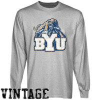 BYU Cougars Ash Distressed Logo Vintage Long Sleeve T-shirt