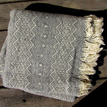 vintage woven blanket. gray and white wool lap blanket. couch throw. Amana Woolen Mills