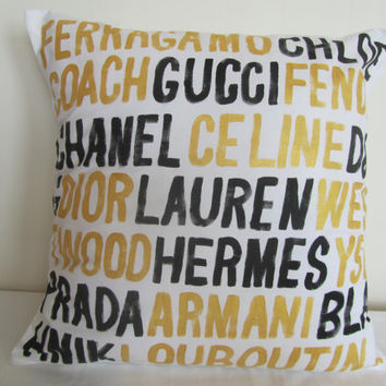 Chanel Celine Hermes Louboutin Prada Coach Dior metallic gold and black throw pillow cushion cover gift 18 inch