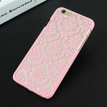 Pink Luxury Hard Plastic Damask Vintage Flower Pattern Back Case Cover for iPhone 4 4s 5 5s SE 6 6s 6 Plus 6s Plus 7 & 7 Plus