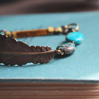 gold feather bracelet: leather feather bracelet, turquoise bracelet leather, mixed media bracelet, brass feather, bohemian bracelet,eclectic