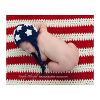 American Flag Baby Boy Baby Girl Crochet Hat and Blanket Set SALE Newborn Photography Prop Ready Item