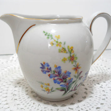 Bavarian Cream Pitcher with Wildflowers, Butterflies and Gold Trim China Creamer Cottage Chic Wedding Decor
