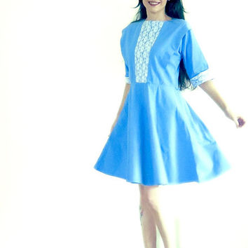 Vintage Dress , Blue , Cotton Dress , Lace , Knee Length