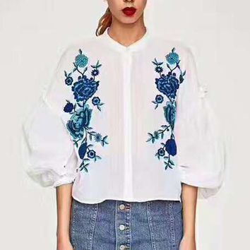 Zara Fashion Floral Embroider Long Sleeve Sexy T-Shirt G-JGYF