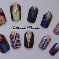 Handpainted Fake/False Merlin Supernatural Sherlock and Doctor Who Nails