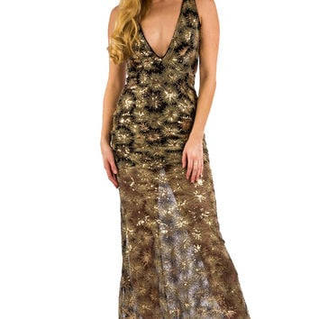 Black and Gold Sequin Maxi Dress with Plunging Neckline