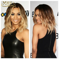 Ombre Blonde Human Hair Wigs 1B#T4#T27# Ombre Blonde Full Lace Wig Three Tone Ombre Lace Front Wig Short Wavy Hair