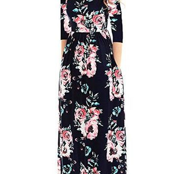 Chicloth Classic Floral Print Black 3/4 Sleeve Maxi Dress