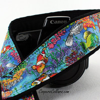 Camera Strap, Tropical Fish, Salt Water Fish, Blue, Aqua, Yellow, Ocean, dSLR, SLR, 72
