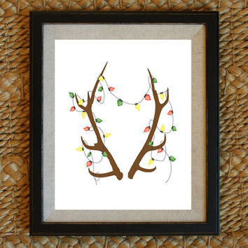 Holiday Reindeer Antlers Illustration Christmas Light Antlers Holiday Print Holiday Printable Art Christmas decor Christmas Wall Art