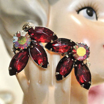 Rhinestone Clip On Earrings 1960s 60s Mid Century Midcentury Earrings Ruby Red Faceted Glass AB Aurora Borealis  Hollywood Regency Hand Set