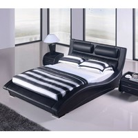 King size Modern Black Faux Leather Upholstered Platform Bed with Headboard
