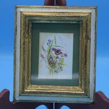 Italy Framed Floral Picture Vintage Italian Small Layered Hanging Frame Wild Flowers Butterfly Matted Frame Glass Gift for Her