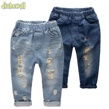 8 Size Children Denim Pants Boy Girls Ripped Jeans Baby New Arrivals Jeans 2017 Kids Casual Trousers High Quality Clothes CYB757