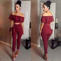 New Arrivals 2016 Sexy Ruffled Off Shoulder Jumpsuit 2 Pieces Bodycon Bodysuit High Waist Rompers Womens Jumpsuit Overalls Club