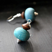 Teal Blue Glass Earrings, Wood, Sterling Silver Ear Wires, Artisan Lampwork Dangle Earrings