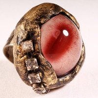 I Love You Ring - large Adjustable albino eyeball. gold silver rose colors, chunky Unique Gothic Steampunk Jewelry