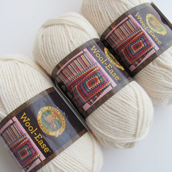 3 Skeins Lion Brand Wool-Ease Fisherman Worsted Weight Wool Blend Yarn, Brand New, Great for Sweaters & Blankets