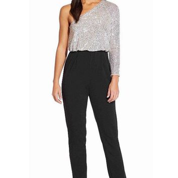 Adrianna Papell One Shoulder Long Sleeve Jumpsuit