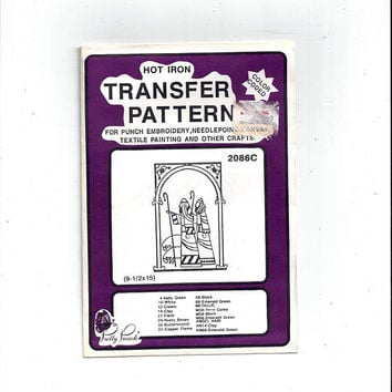 1987 Shepherds Nativity Hot Iron Transfer for Punch Embroidery, Textile Painting, Pretty Punch Shoppettes, Vintage Christmas Crafts, UNUSED