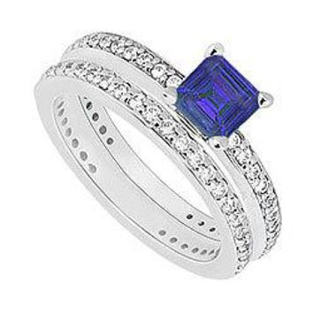 14K White Gold Blue Sapphire & Diamond Engagement Ring with Wedding Band Sets 1.00 CT TGW