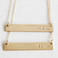 Nameplate Necklace /Gold Bar Necklace/ Layering Necklace /Gold Initial Necklace/Personalized jewelry/Minimalist Necklace/14k Gold Fill/N090G