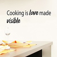 Wall Decals Quotes Vinyl Sticker Decal Quote Kitchen Cafe Cooking is love made visible Phrase Home Decor Bedroom Art Design Interior NS267
