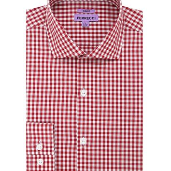 The Red Gingham Check Slim Fit Cotton Dress Shirt