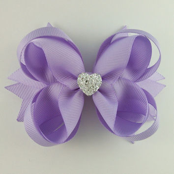 Lavender Stacked Boutique Hair Bow with Sparkly Heart~ Gift for Her~ Gift for Child~ Photo Prop~ Birthday Bow