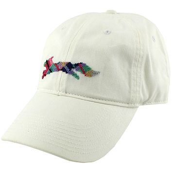 "Country Club Prep ""Longshanks"" Needlepoint Hat in White by Smathers & Branson"