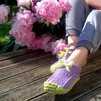 Knitted Slippers/ Hand Knit Warm Slippers/ Womens Slippers Socks/ Wool Slippers/ Teen Slippers