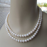 Faux pearl necklace, 2 strand choker, collectible jewelry