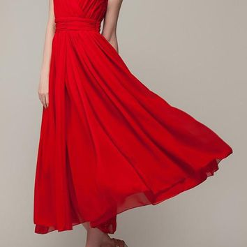Red Pleated Chiffon Cleavage Sleeveless Elegant Maxi Dress