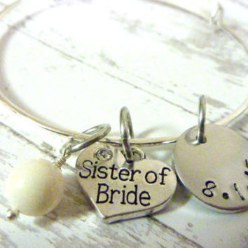 Sister of the Bride Bracelet Personalized Bracelet Wedding Swarovski pearl Bracelet
