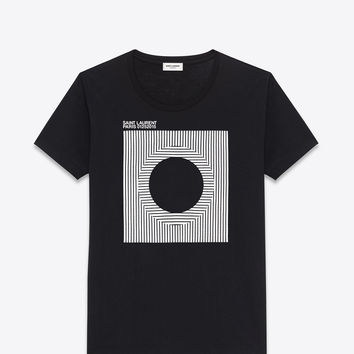 Saint Laurent VINYL T PROJECT Short Sleeve T Shirt In Black And White Cotton Jersey | ysl.com