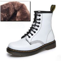Fashion Women Autumn Flat Low Heel Leather Martin Boots Shoes